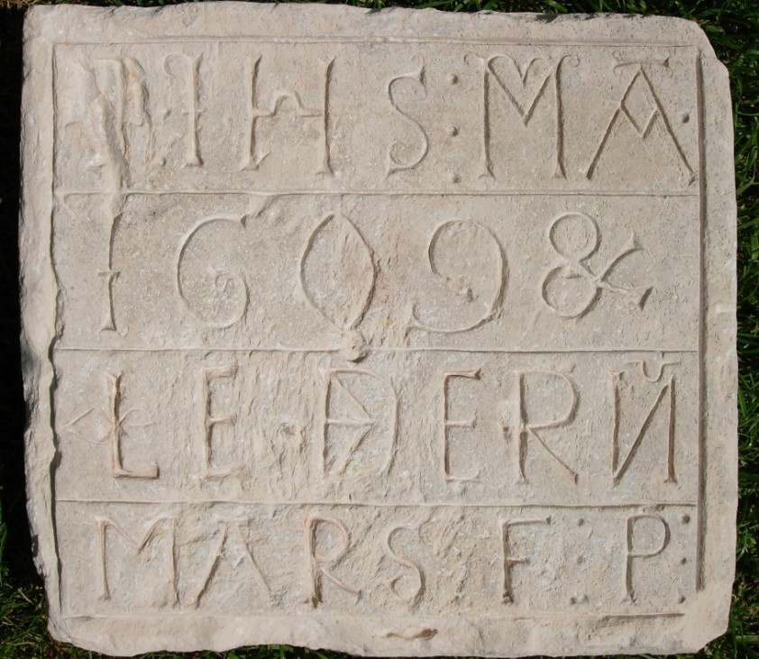 Discovered square stone plaque