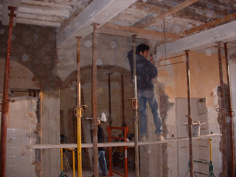 Salon - original ceiling uncovered