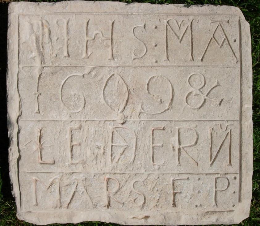 Discovered square stone plaque