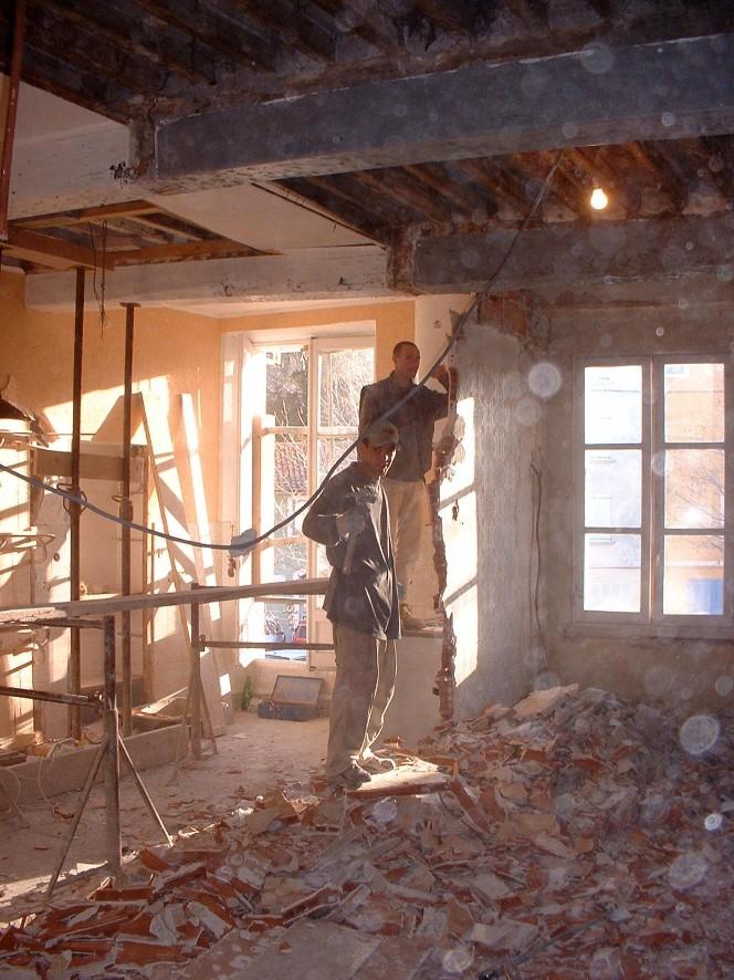 Demolition of wall in salon